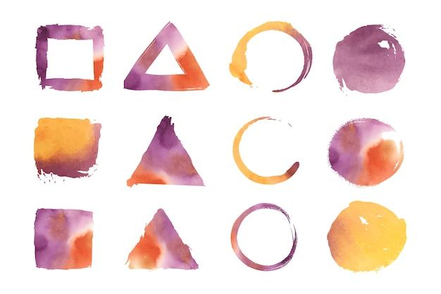 水彩色の幾何学形状ベクトルセット 無料ベクター