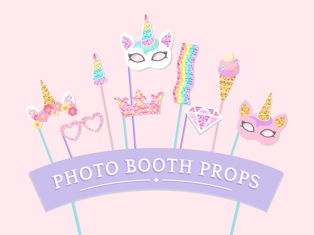 かわいいユニコーン写真ブースパーティー小道具ベクトル 無料ベクター