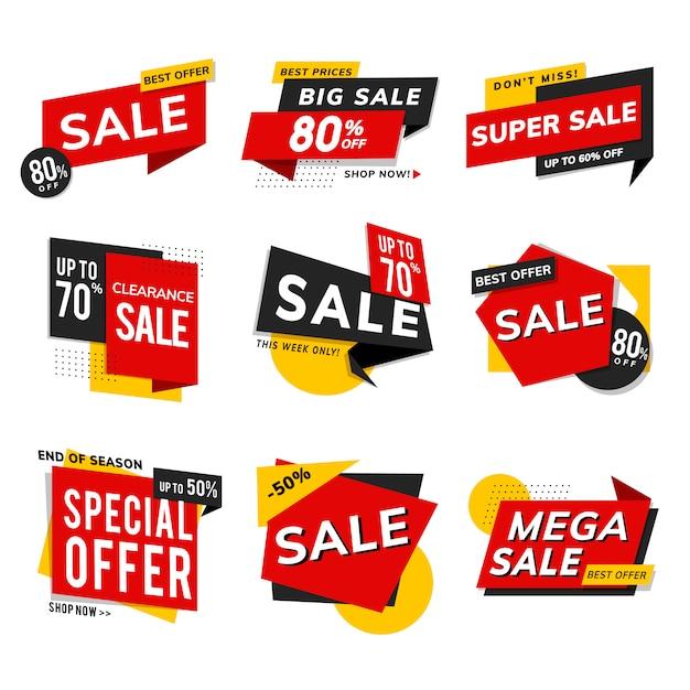 ショップセールプロモーション広告ベクトルセット 無料ベクター