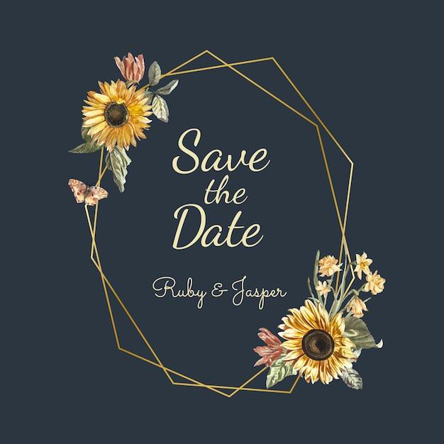 結婚式招待状の模造を保存する 無料ベクター