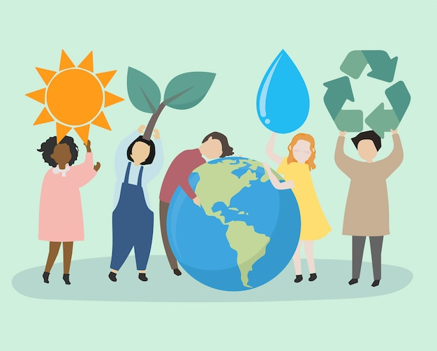 世界と環境を気にする人々 無料ベクター