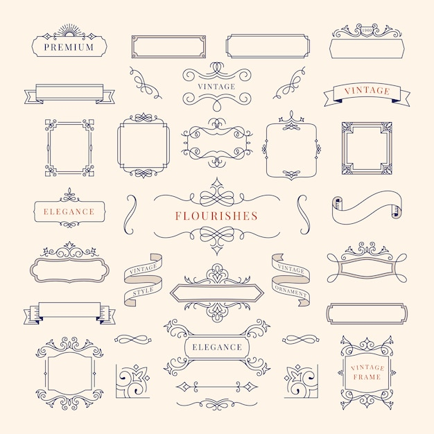 ヴィンテージ装飾フレームイラストのコレクション 無料ベクター