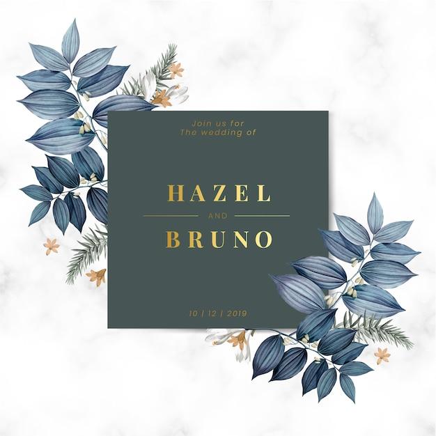 青い花の結婚式招待状 無料ベクター
