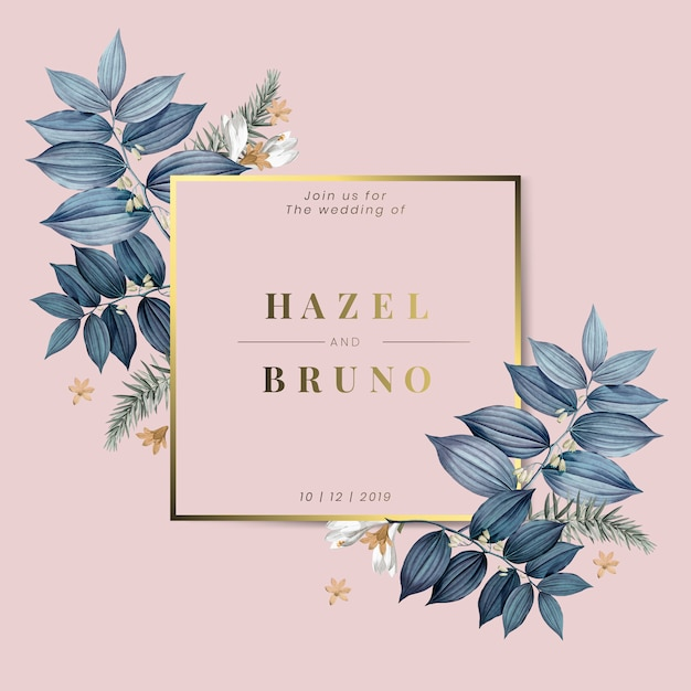 花結婚式招待状のデザインベクトル 無料ベクター