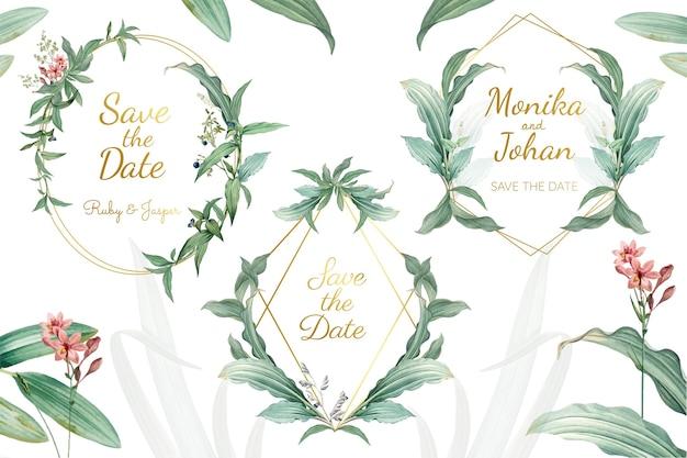 緑の花の結婚式招待状ベクトル 無料ベクター