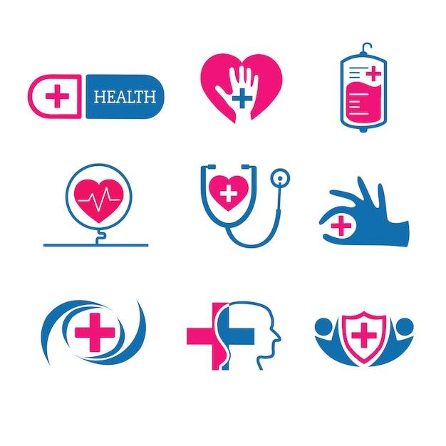 医療サービスロゴベクトルセット 無料ベクター