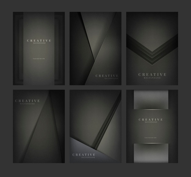 Набор абстрактных фоновых рисунков в черном Бесплатные векторы