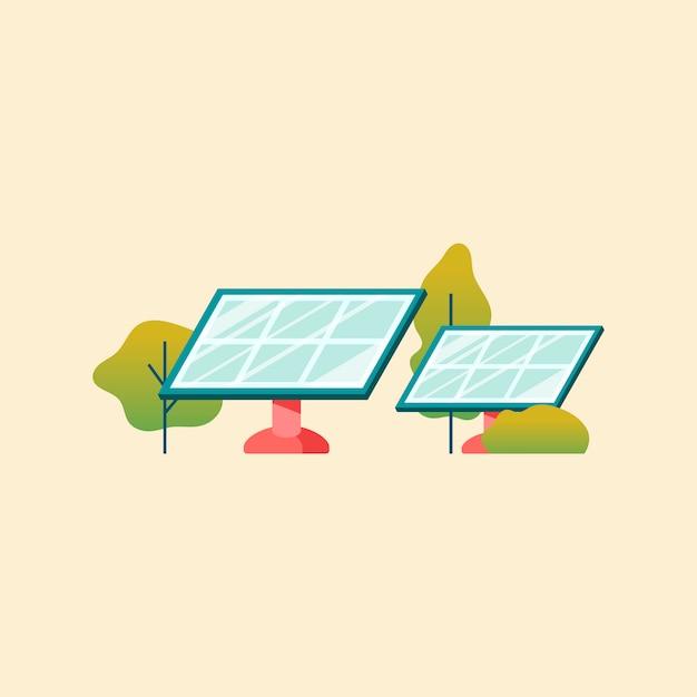 ソーラーパネルを用いた省エネコンセプト 無料ベクター