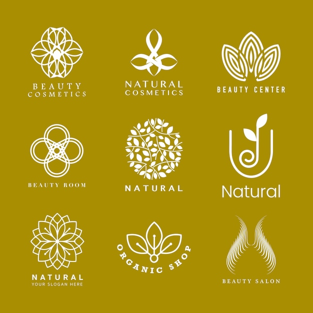 天然化粧品ロゴのセット 無料ベクター