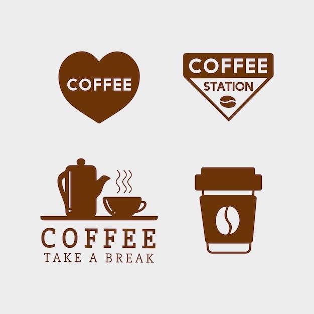 Набор кофейных элементов и кофейных принадлежностей Бесплатные векторы