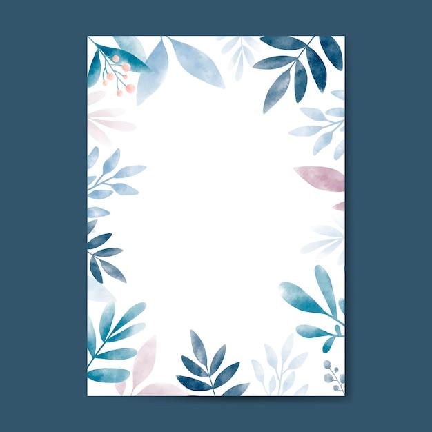 コピースペースデザインの水彩葉 無料ベクター