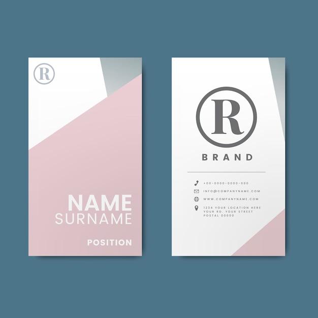 Минимальный современный дизайн визитной карточки с геометрическими элементами Бесплатные векторы