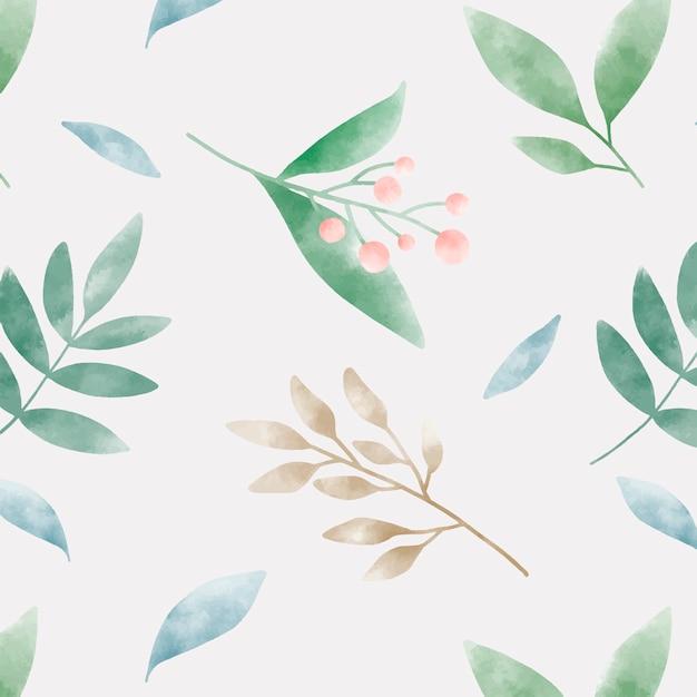 水彩の緑の葉パターンベクトル 無料ベクター