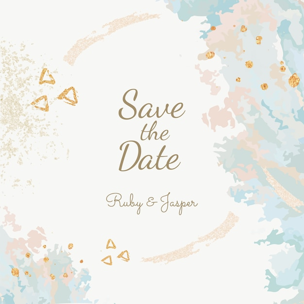 結婚式招待状の日付を保存する 無料ベクター