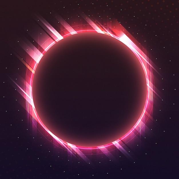 空の赤い円ネオン看板ベクトル 無料ベクター