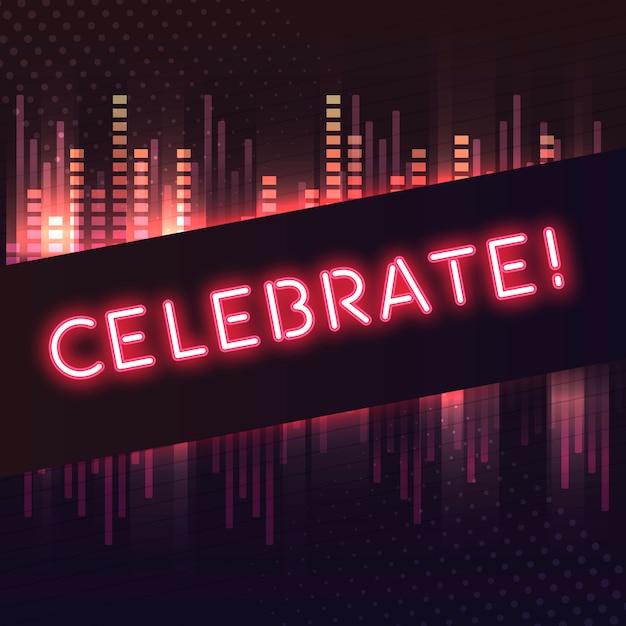 赤、ネオンの看板のベクトルを祝う 無料ベクター