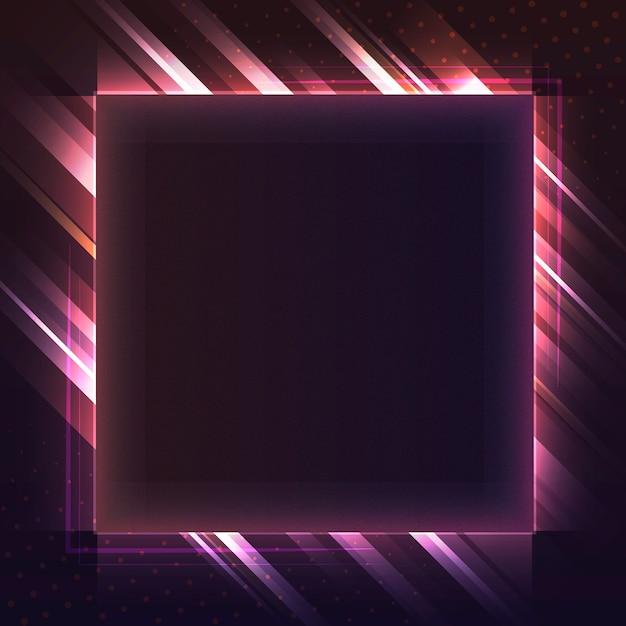 空の赤い四角形のネオン看板ベクトル 無料ベクター