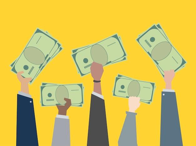 Деловые люди, держащие деньги иллюстрации Бесплатные векторы