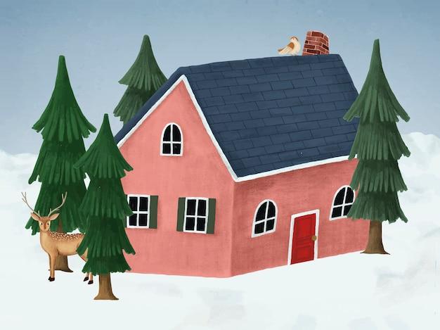 白いクリスマスの夜に手描きの赤い家 無料ベクター