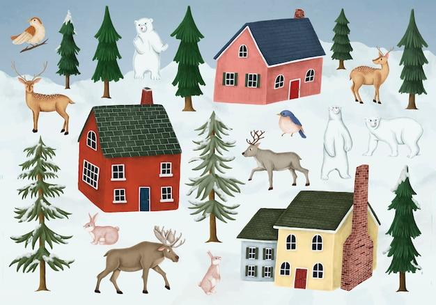 Рисованные дикие животные посещают деревню ночью Бесплатные векторы