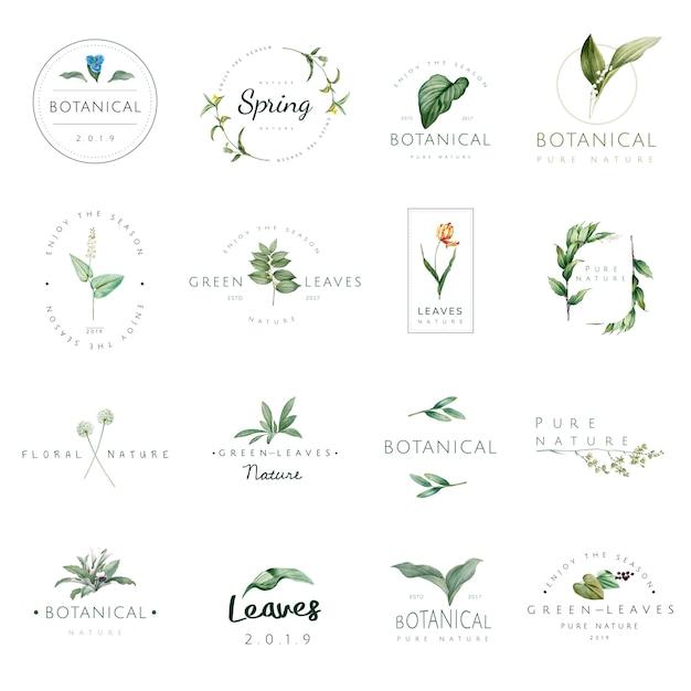自然と植物のロゴのセット 無料ベクター