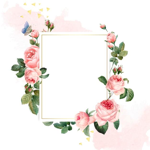 ピンクと白の背景に空白の長方形のピンクのバラのフレーム 無料ベクター