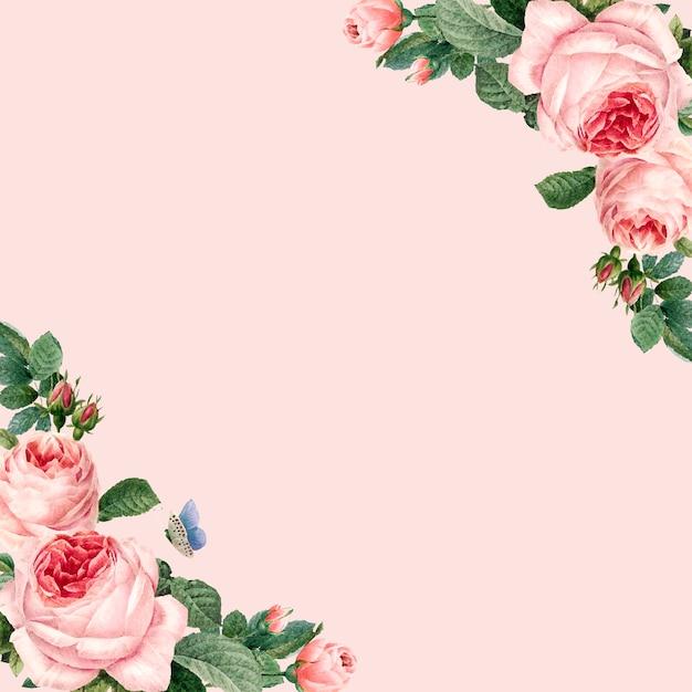 パステルピンクの背景に描かれたピンクのバラのフレーム 無料ベクター