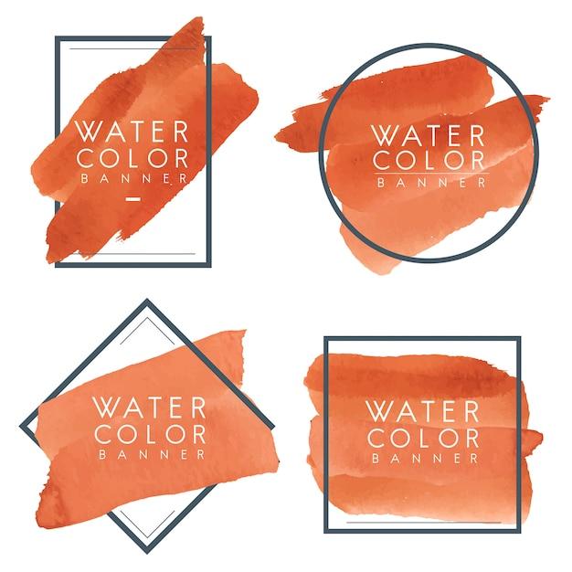 オレンジ色の水彩バナーのセット 無料ベクター