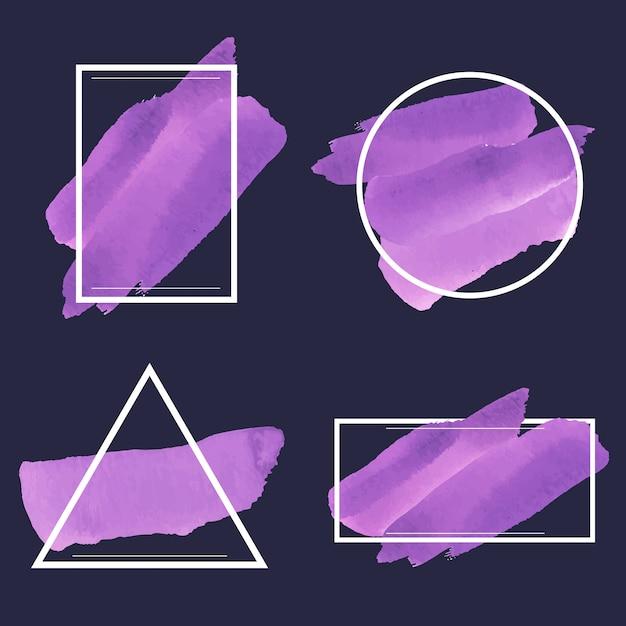 紫の水彩バナーのセット 無料ベクター