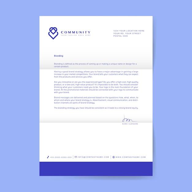 Деловое письмо с логотипом Бесплатные векторы