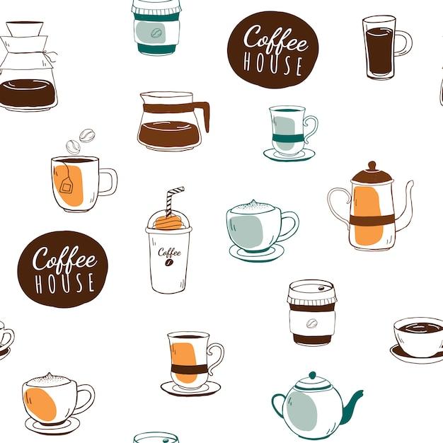 コーヒーハウスとカフェの模様のある背景 無料ベクター