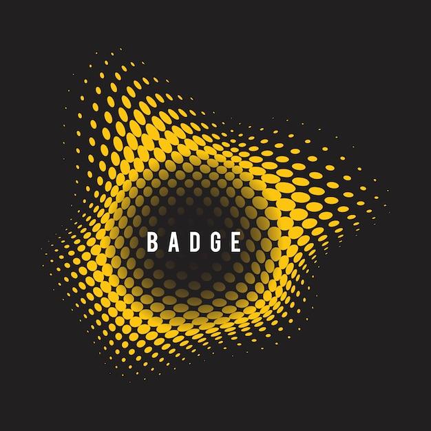 Желтый волнистый значок полутонов на черном фоне Бесплатные векторы