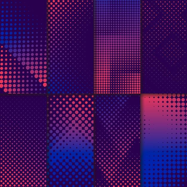 Набор фиолетового и розового полутонового фона Бесплатные векторы