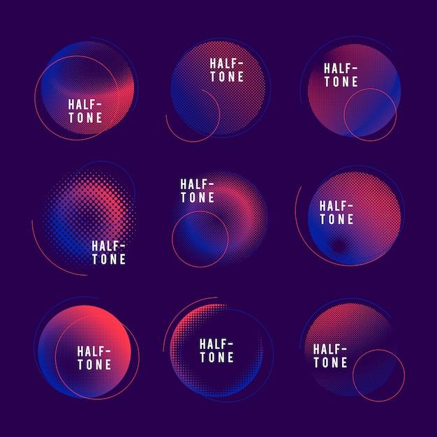 Набор синих и розовых полутонов Бесплатные векторы