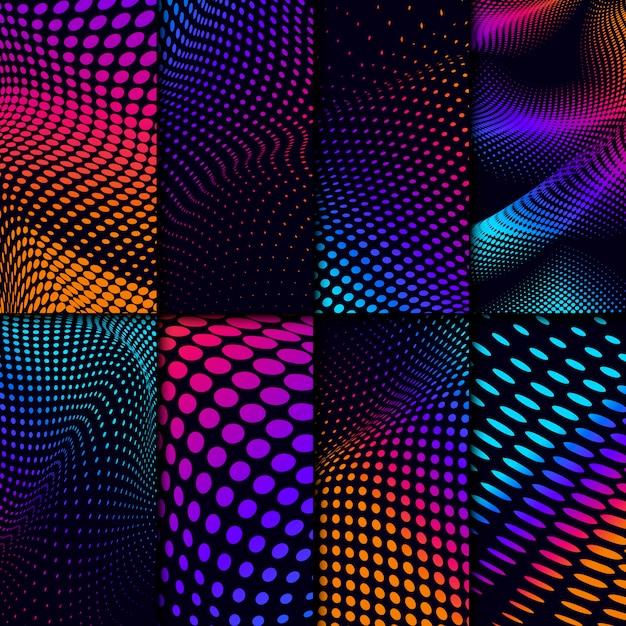 Яркий полутоновый набор на черном фоне Бесплатные векторы