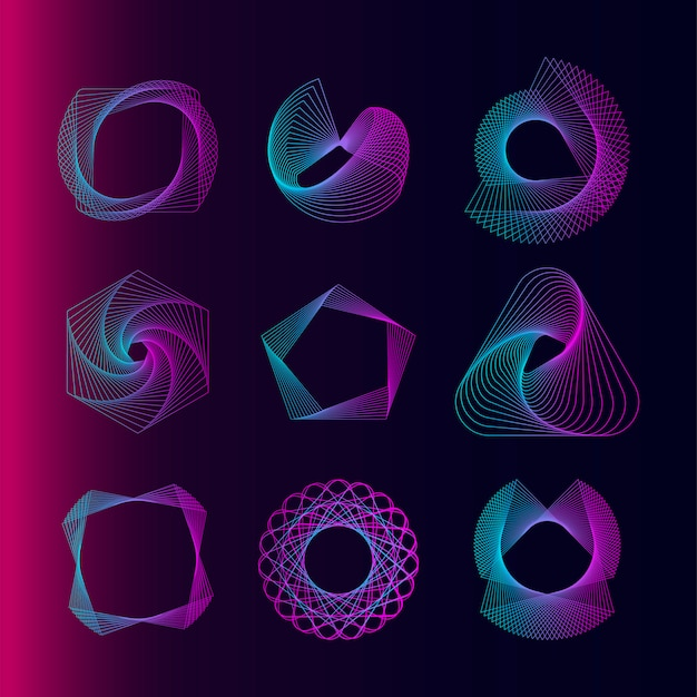 Набор векторных геометрических элементов Бесплатные векторы