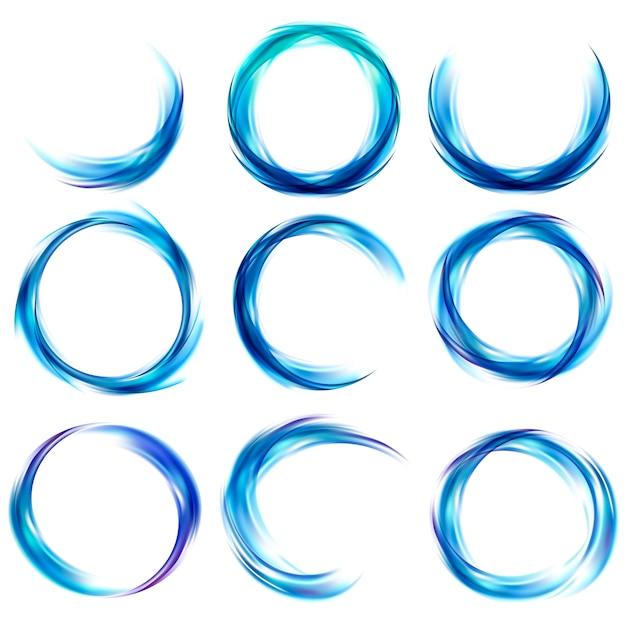 青で抽象的なバナーを設定 無料ベクター