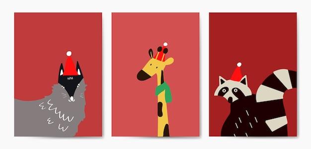 漫画スタイルのベクトルでかわいい動物のコレクション 無料ベクター