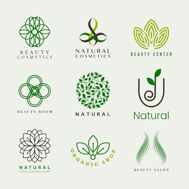 天然化粧品ロゴベクトルのセット 無料ベクター