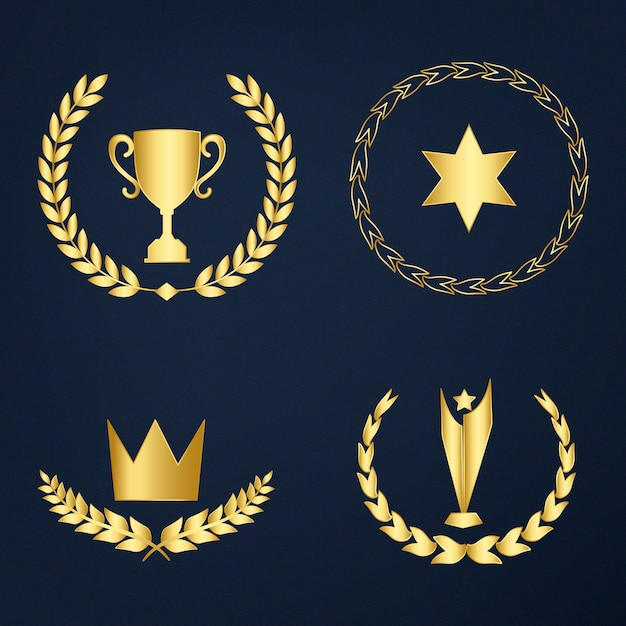 Набор знаков наград и значков Бесплатные векторы