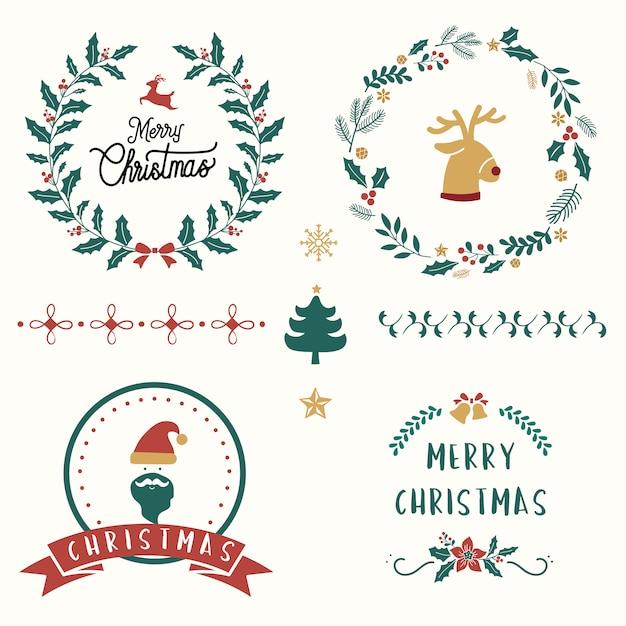 クリスマスバッジのベクトルのセット 無料ベクター