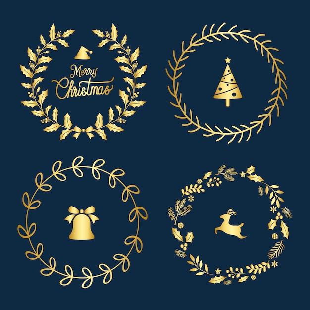 Набор векторов рождественских значков Бесплатные векторы