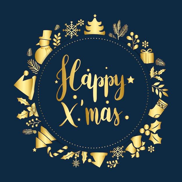 ハッピークリスマスの挨拶バッジベクトル 無料ベクター