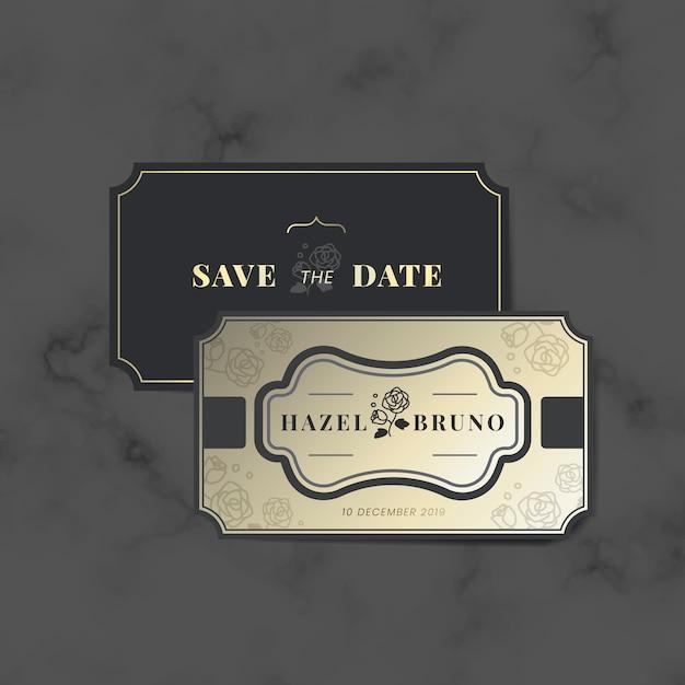 ヴィンテージ結婚式招待状ラベルベクトルセット 無料ベクター