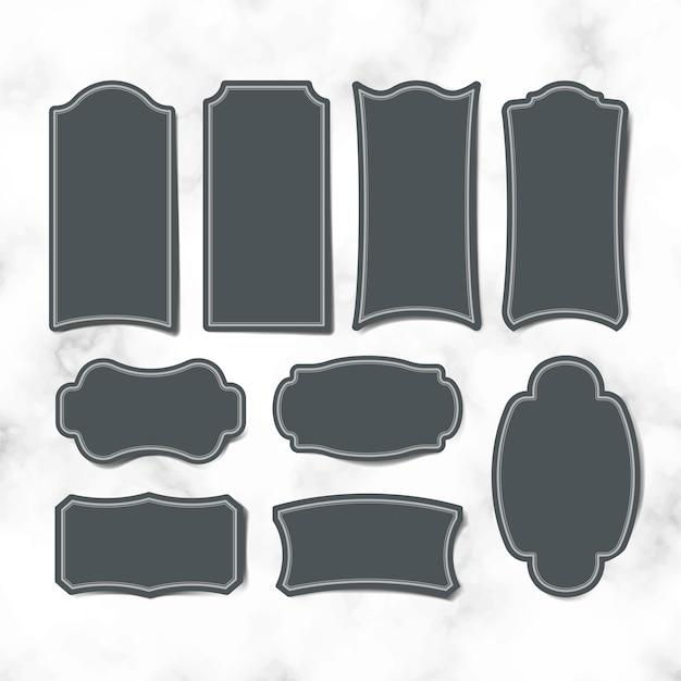 空のヴィンテージステッカーラベルベクトルセット 無料ベクター