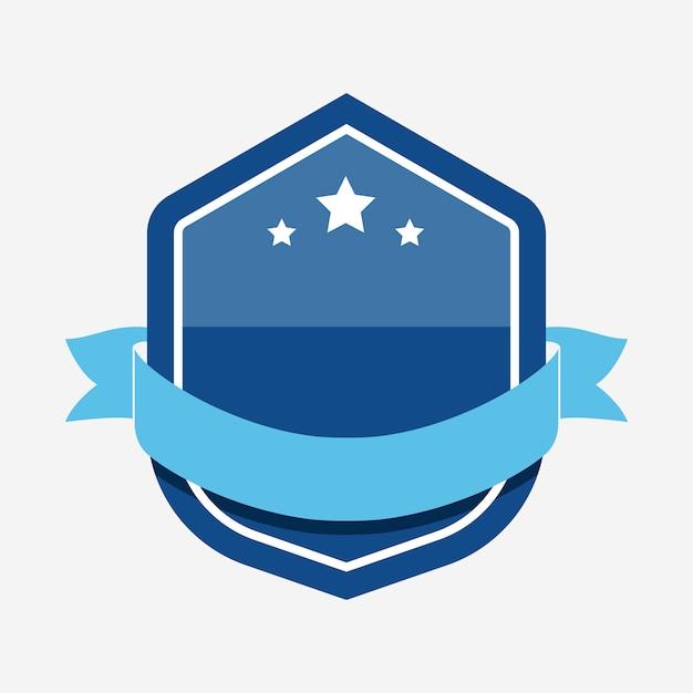 Синий значок, украшенный баннером Бесплатные векторы