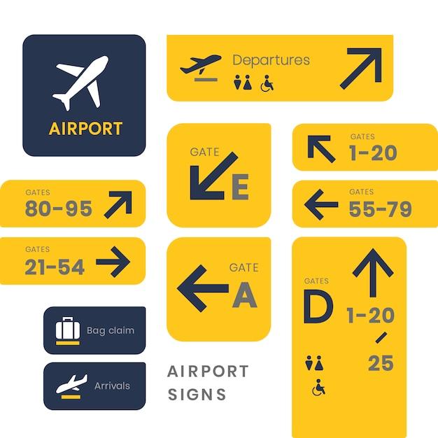 Значок иконок в аэропорту Бесплатные векторы