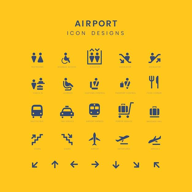 Набор знаков обслуживания аэропорта Бесплатные векторы