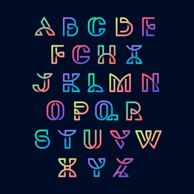 Набор красочных ретро-алфавитов Бесплатные векторы