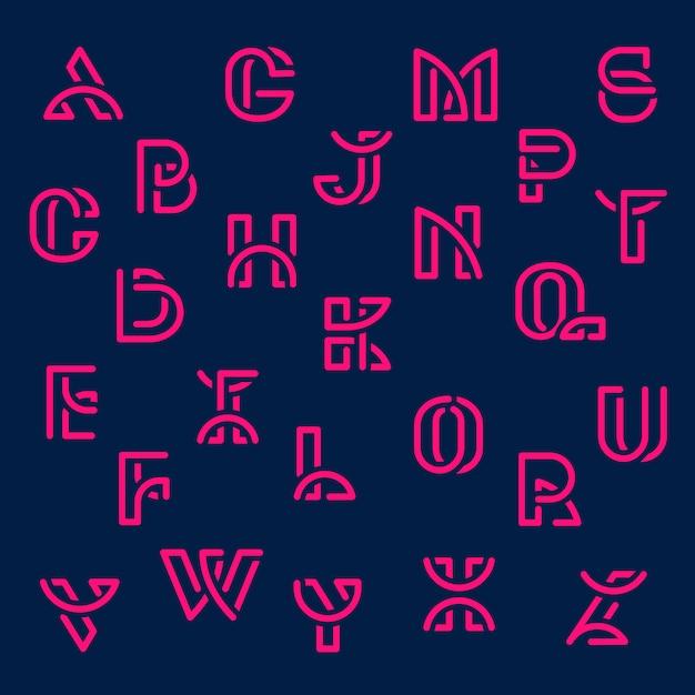 ピンクレトロアルファベットベクトルセット 無料ベクター